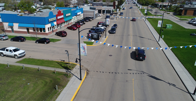 Aerial photo of 100 Street and 96 Avenue looking North