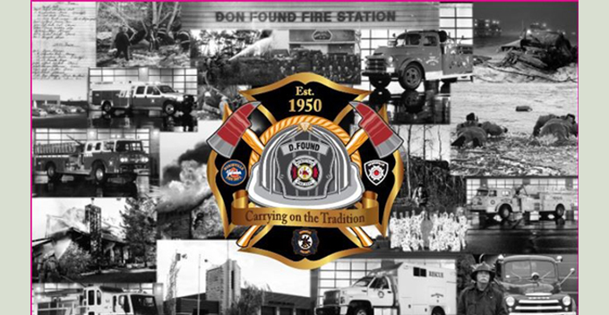 Collage of historic photos of Fire Hall