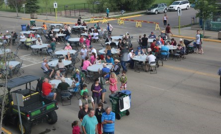 Morinville residents celebrating a Block Party