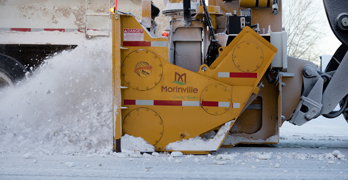 Close up of snow plow